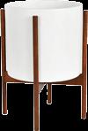 White Mid-Century Ceramic & Wood Stand