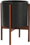 Black Mid-Century Ceramic & Dark Wood Stand