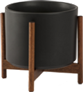 Black Mid-Century Ceramic + Dark Wood Stand