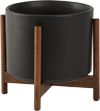 Black Mid-Century Ceramic + Light Wood Stand