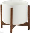 White Mid-Century Ceramic + Wood Stand