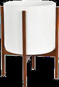 White Mid-Century Ceramic & Dark Wood Stand