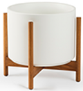 White Mid-Century Ceramic + Light Wood Stand