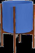 Cobalt Mid-Century Ceramic & Dark Wood Stand