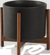 Black Mid-Century Ceramic + Wood Stand