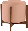 Coral Mid-Century Ceramic + Wood Stand