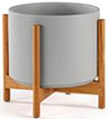Gray Mid-Century Ceramic + Light Wood Stand