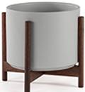 Gray Mid-Century Ceramic + Dark Wood Stand