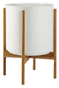 White Mid-Century Ceramic & Light Wood Stand